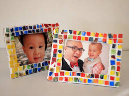 painted mosaic styrofoam tile picture frame pink stripey socks
