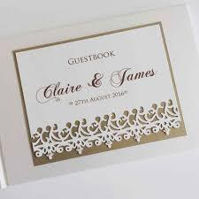personalized wedding guest book personalised wedding guest book with die cut edging and crystals