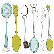 vintage spoons a coolection of different hand drawn spoons