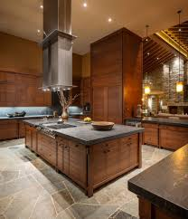 High Ceiling Kitchen by Leathered Granite For A Rustic Kitchen With A High Ceilings
