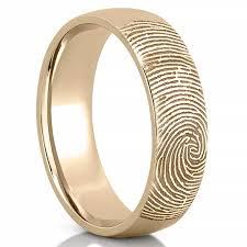 gold wedding band fingerprint wedding band men s fingerprint on outside of wedding