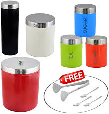 kosma 6 pc stainless steel storage canister set kitchen storage