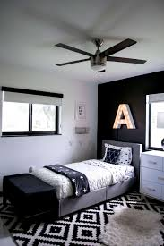 black and white modern kids room bright green door