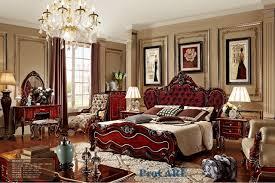 set de chambre bois massif de luxe de style italien en bois massif sculpture mobilier