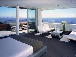 contemporary master bedroom with high ceiling u0026 frameless windows