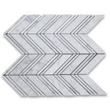 carrara white italian carrera marble chevron mosaic tile w