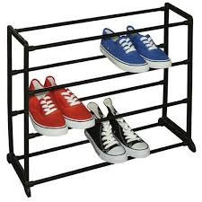 Shoe Rack by Sunbeam 12 Pair Shoe Rack Black Walmart