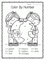 earth color by number earth day coloring page for kids coloring