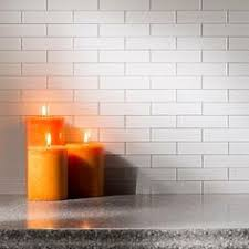 White Shaker Cabinet Kitchen Gray X Subway Tile Backsplash - Aspect backsplash tiles
