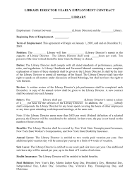 library director yearly employment contract template in word and