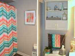 chevron bathroom ideas orange chevron pattern shower curtain and bathroom towel with