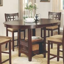 Round Dining Sets Coaster Company Lavon Dining Table In Warm Brown Counter Height
