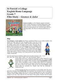 gnomeo juliet film guide intofilm teaching resources tes