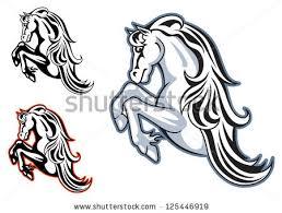 wild horse stallion mascot tattoo design stock vector 125446919