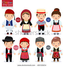different traditional costumes greece italy stock vector
