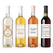 wine bottle labels for engagement gift bridal