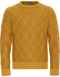 sweater with ochre yellow cotton crew neck sweater with stitch for