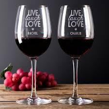 personalised set of 2 wine glasses live laugh love