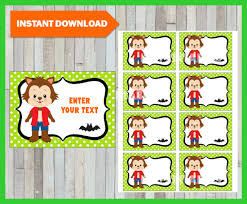 werewolf halloween tags thank you tags halloween favor