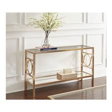 geometric circle sofa table with mirrored base in gold chrome