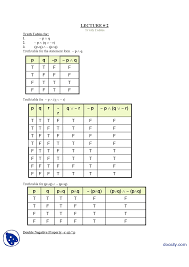 Pq Truth Table Truth Tables Discrete Mathematics Lecture Handout Docsity