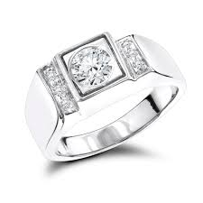 mens diamond engagement rings 18k gold one carat center mens diamond engagement ring solitaire w