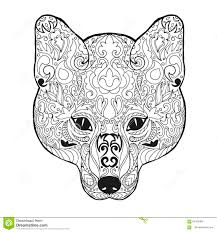 t shirt coloring page zentangle stylized fox head sketch for tattoo or t shirt stock
