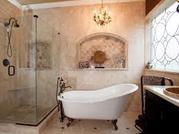mid century bathroom design idea with small freestanding tub with