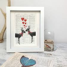 christmas antique page upcycled loveheart deer print by roo abrook