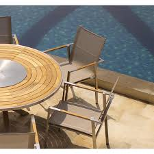 Teak Patio Furniture Sets - outdoor table set signature steel teak round table with batyline