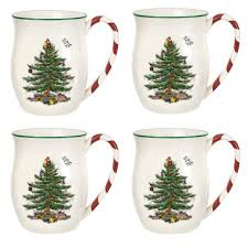 spode tree peppermint handled mugs set of 4 spode usa