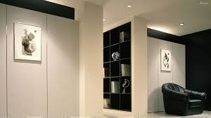 white black study room wall with white black wooden shelves also