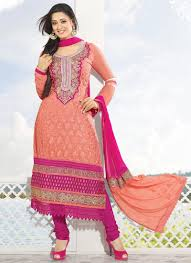 buy shweta tiwari style peach color embroidred churidar suit online