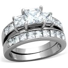 Stainless Steel Wedding Rings by Three Stone 6mm Princess Cz Stainless Steel Wedding Ring Set U2013 La
