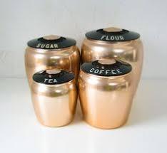 copper kitchen canister sets vintage aluminum copper canister set by bend vintage