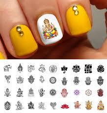 ganesha hindu meditation indian assortment water slide nail