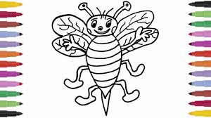 how to draw bee and coloring learning coloring pages for kids
