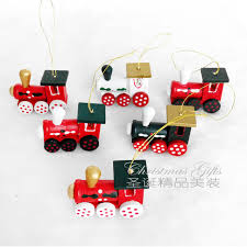 6 pcs painted wood tree decorations new year