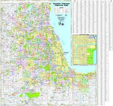 Chicago Illinois Map by Milwaukee Map Service Illinois Wall Maps