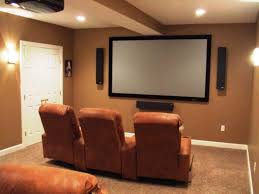Basement Media Room Decorations Small Home Basement Media Room Ideas Brown Leather