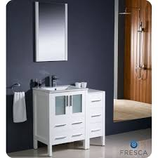 Bathroom Vanity With Side Cabinet Fresca Torino 36 Inch White Modern Bathroom Vanity With Side