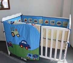 Baby Boy Cot Bedding Sets 3d Stereo Embroidery Blue Cars Baby Boy Crib Cot Bedding Set Quilt