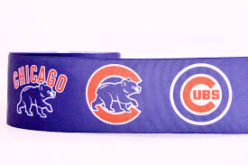 baseball ribbon 3 wide chicago cubs baseball logo printed on white grosgrain