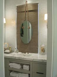 bathroom set ideas with innovative oval mirror and white mosaic