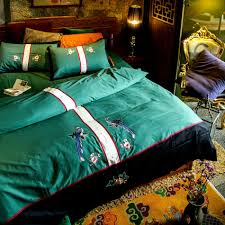 Embroidered Duvet Cover Sets Aliexpress Com Buy Green Birds Embroidery Duvet Cover Set Queen