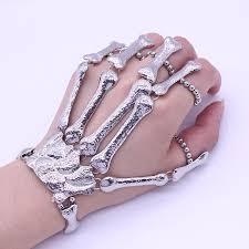 women hand bracelet images Nightclub gothic punk skull finger bracelets for women skeleton jpg