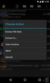 how to open zip files on android pressing on the compressed zip file will open a menu with