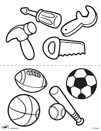 First Pages Tools And Sports Coloring Page Crayola Com Tools Coloring Page