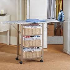 Laundry Room Storage Cart Portable Ironing Board Center Station Storage Cart With Baskets