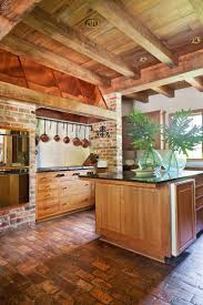 Rustic Kitchen Designs by Best 25 Brick Floor Kitchen Ideas On Pinterest Wood Cabinets